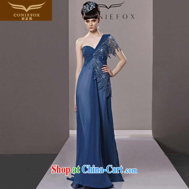 Creative Fox Evening Dress elegant long blue single shoulder dress bride Euro-style evening dress dress wedding banquet evening dress uniform toast moderator dress 81,293 picture color L