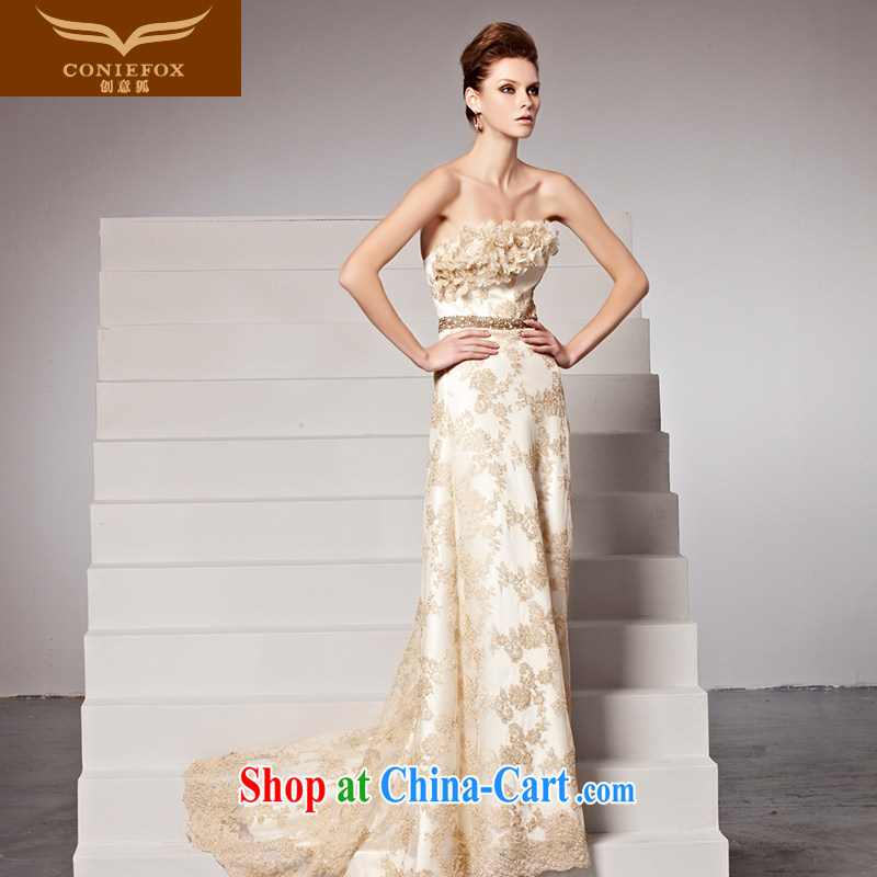 Creative Fox Evening Dress new flowers bridal dresses chest bare bows. Stylish tail dress elegant long annual dress presided over 81,502 picture color M