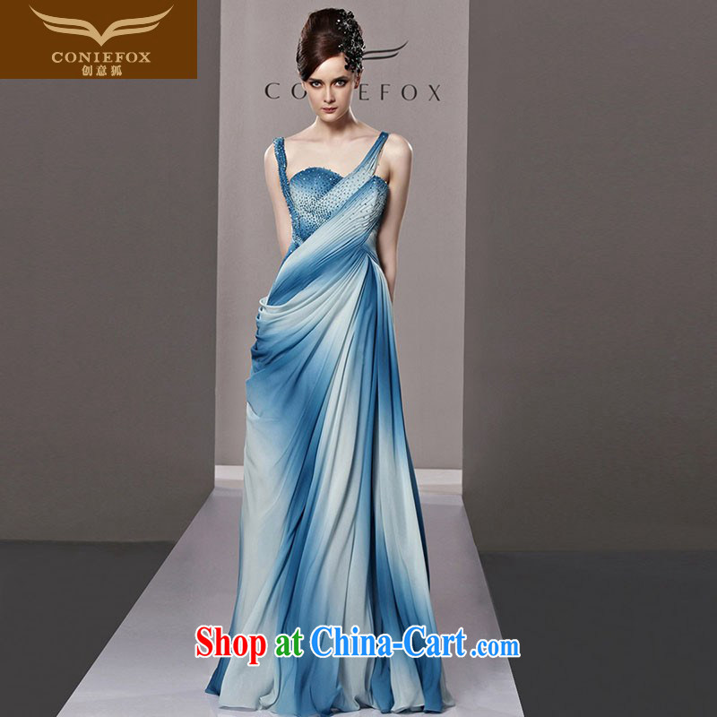 Creative Fox Evening Dress blue gradient straps sexy evening dress dress evening dress toast serving high quality parquet drill conducted dress uniforms 81,295 pictures color XXL