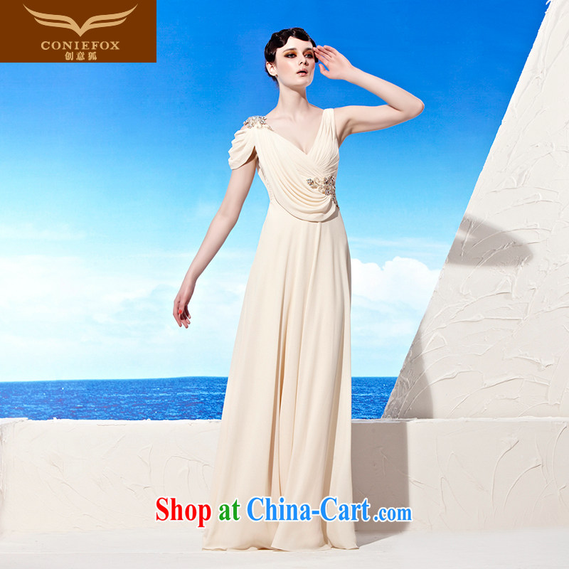 Creative Fox evening dress in Europe V deep snow woven dress long dress elegance evening dress uniform toast the annual dress with 56,939 pictures color XL