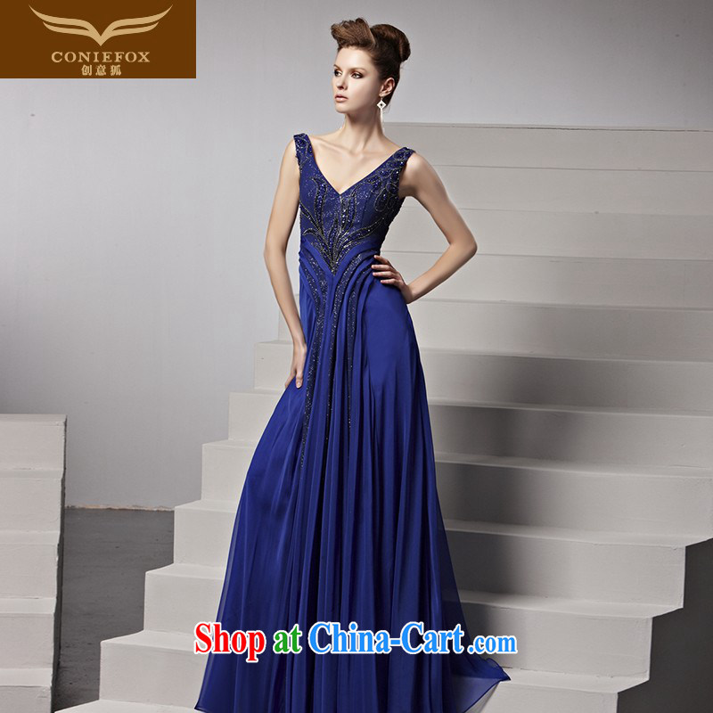 Creative Fox Evening Dress blue Banquet exclusive evening dress elegant long alignment to dress Deep V performances dress Evening Dress toast serving 81,509 picture color XXL