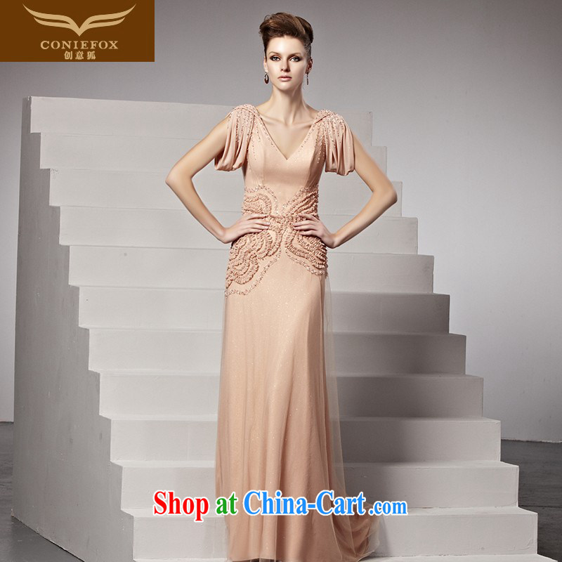 Creative Fox dress sense of deep V bridal dresses sweet pink bows clothing dresses elegance, long-tail wedding dress 81,510 picture color XL