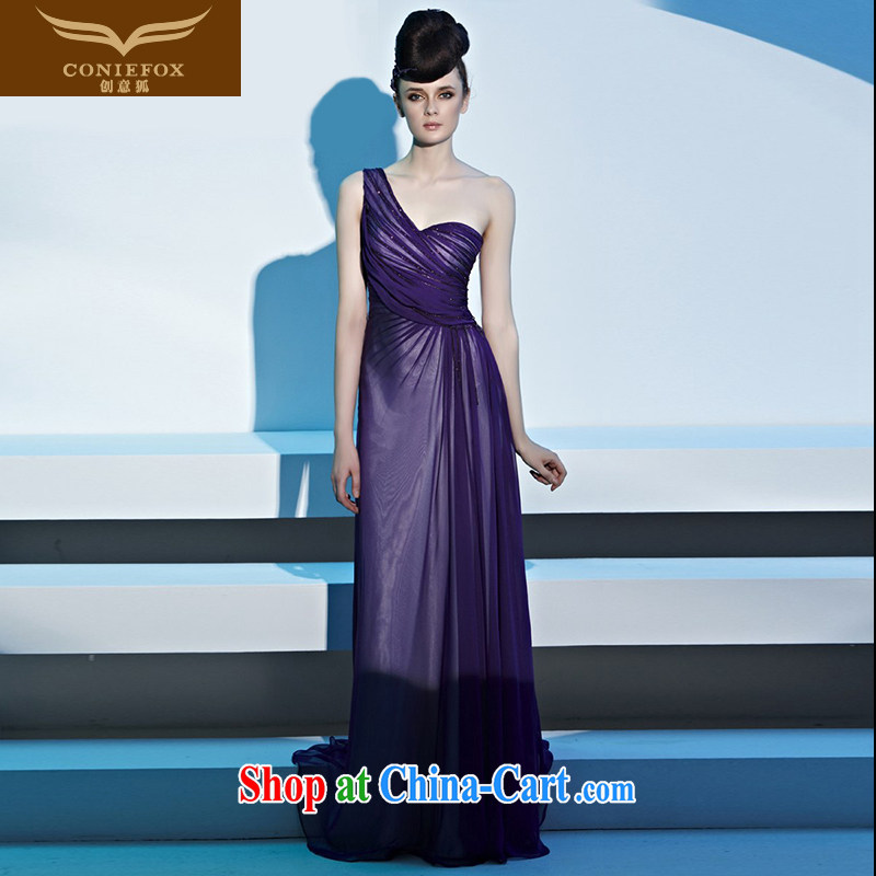 Creative Fox dress sense of the shoulder purple banquet dress bridal toast serving evening dress long performances, serving the beauty dress long skirt 81,306 picture color XXL