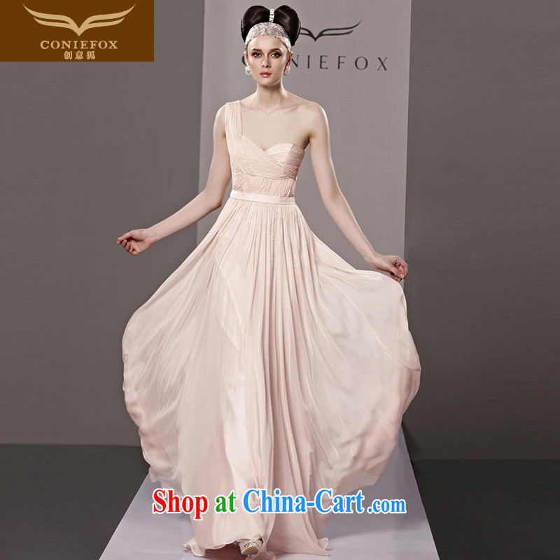 Creative Fox dress sense of the shoulder pink bridal wedding dress fashion long dress banquet evening dress uniform toast moderator dress 81,308 picture color XXL