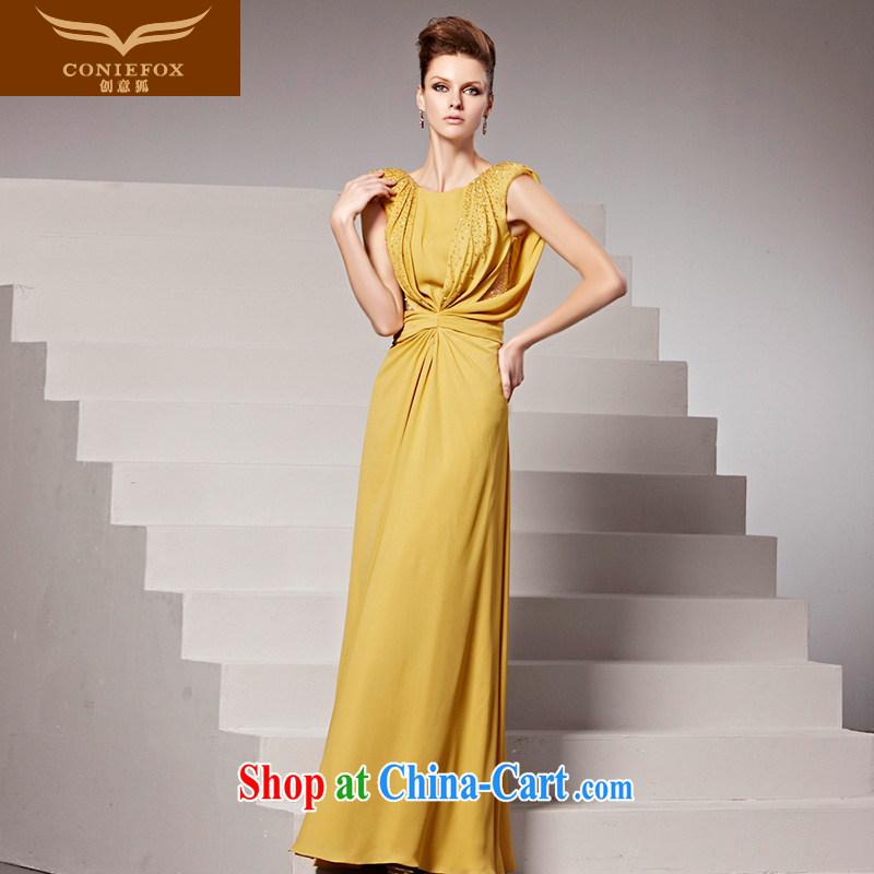 Creative Fox Evening Dress new banquet long dress uniforms yellow field and dress fall evening dress bridesmaid dress show service 81,536 picture color XXL