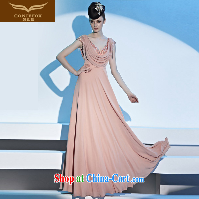 Creative Fox Evening Dress pink wedding dresses toast serving simple and advanced evening dress with long, cultivating bridesmaid dresses dress presided over 81,311 picture color XXL