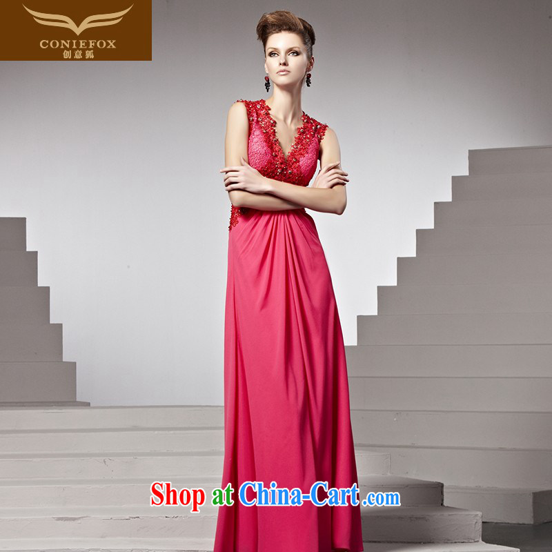Creative Fox Evening Dress new fall dress red bows service sweet deep V evening dress bridal wedding dress Red Carpet dress 81,538 picture color L