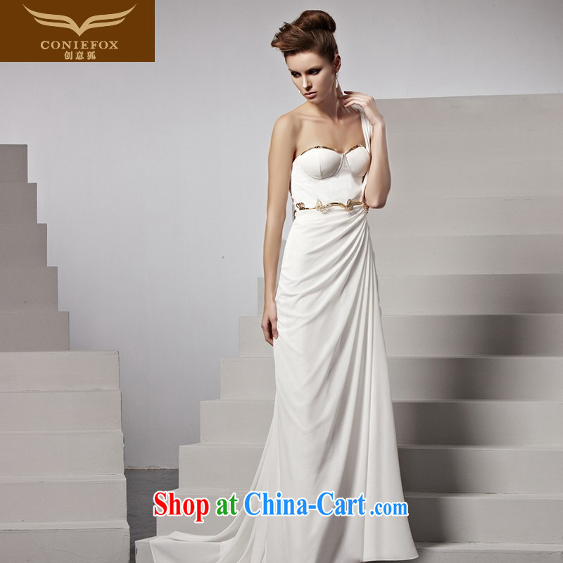Creative Fox dress single shoulder bridal wedding dress elegant long-tail Tuxedo white erase chest dress banquet evening dress presided over 81,553 picture color XXL