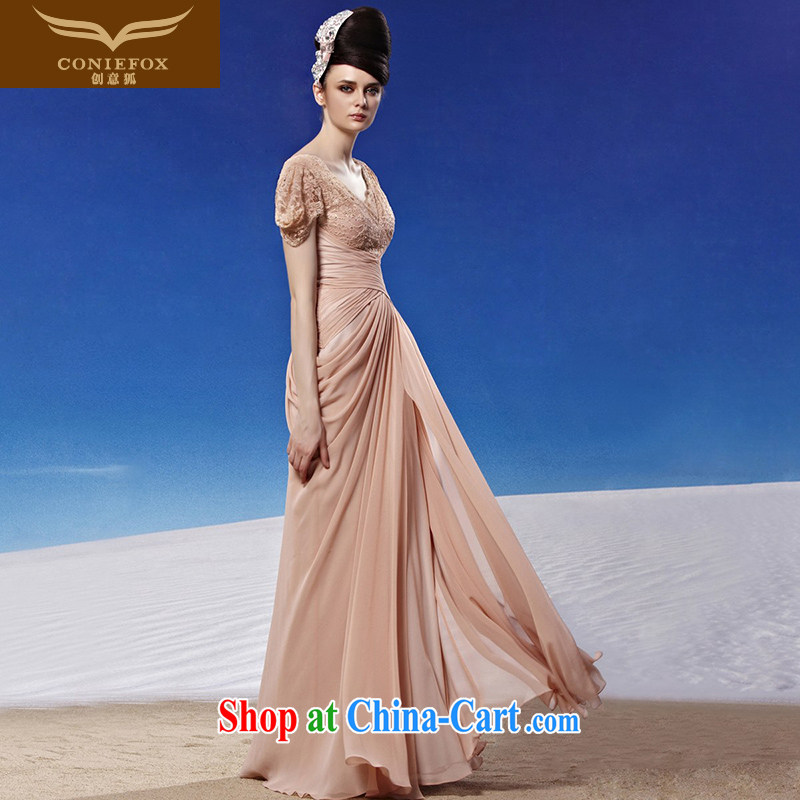 Creative Fox Evening Dress stylish sexy V terrace for the banquet Evening Dress evening dress toast serving the annual dress elegant long gown beauty 81,313 picture color XL