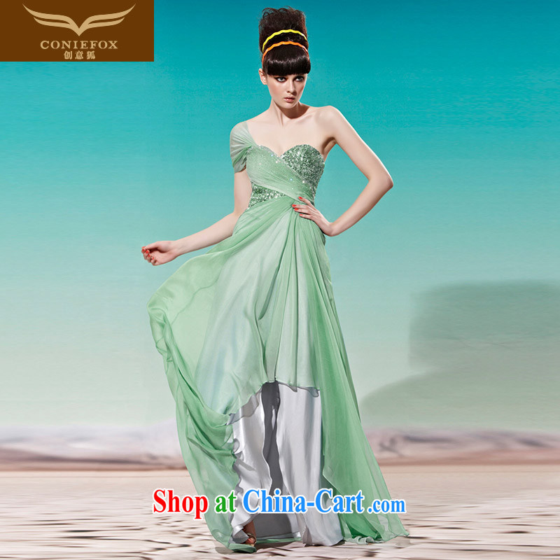Creative Fox Evening Dress New Green show dress dress sense of the shoulder back exposed good evening banquet dress dresses 56,960 green XXL