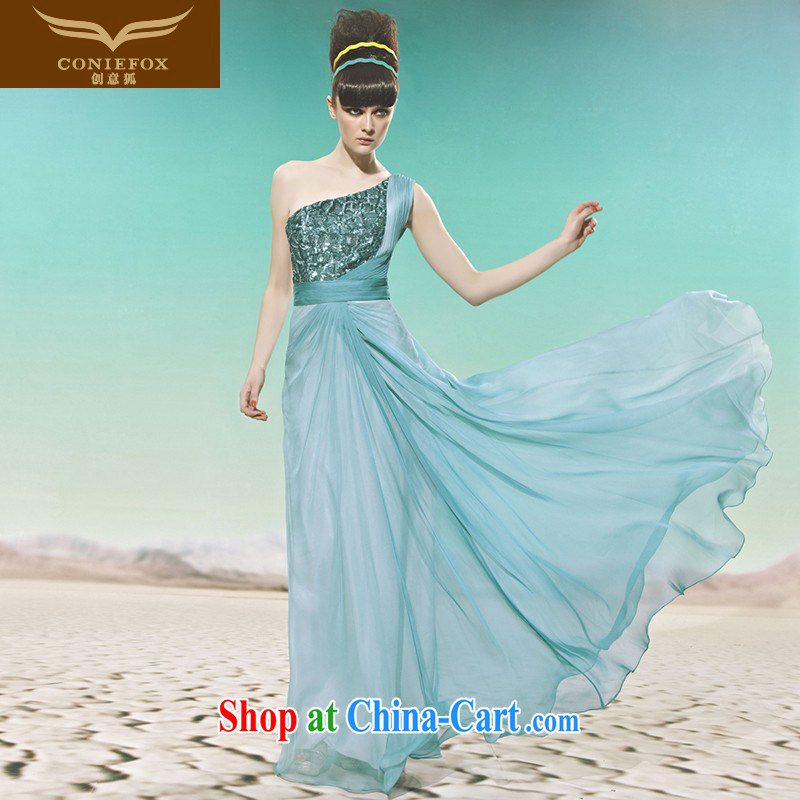 Creative Fox Evening Dress elegant softness banquet dress Evening Dress dress graphics thin aura long single shoulder fall dress dresses show 56,965 blue XXL