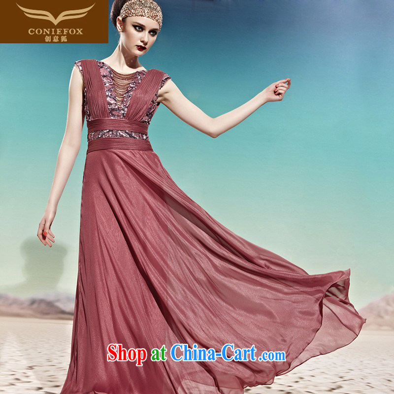 Creative Fox Evening Dress bride wedding toast clothing stylish beauty dress dresses show service banquet Evening Dress deep V long dress skirt 56,996 picture color S