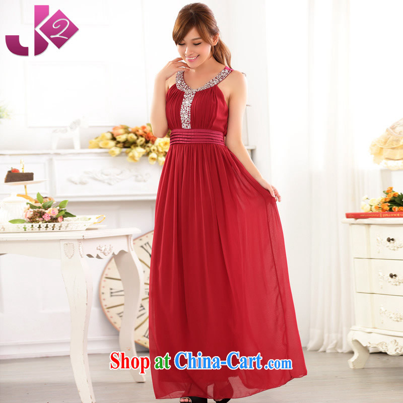 JK 2. YY larger female manually staple Pearl Light snow-woven long skirt wedding dress uniform toast dress long female Red Code relate weight for height as the advisory service