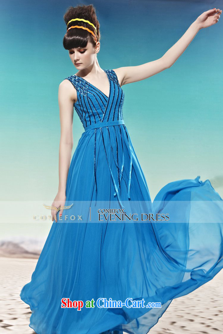 Creative Fox dress sense of deep V Korean Korean dress wedding toast wedding dress long water drill dress evening dress dress 58,021 blue XXL pictures, price, brand platters! Elections are good character, the national distribution, so why buy now enjoy more preferential! Health