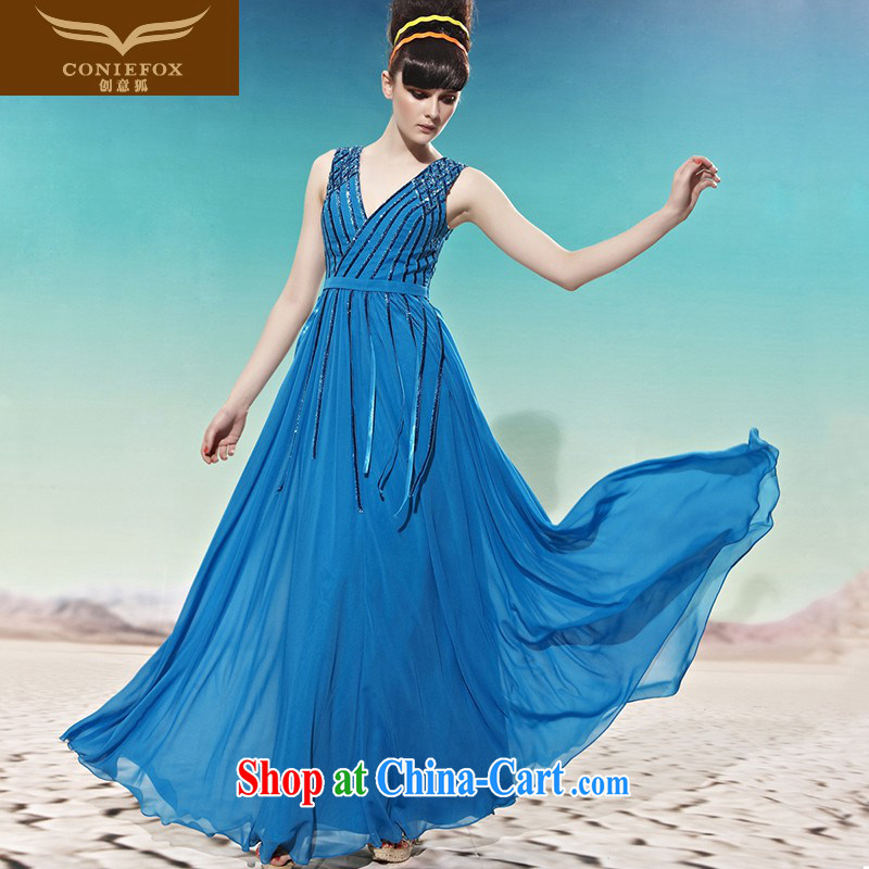 Creative Fox dress sense of deep V Korean Korean dress wedding toast wedding dress long water drill dress evening dress dress 58,021 blue XXL