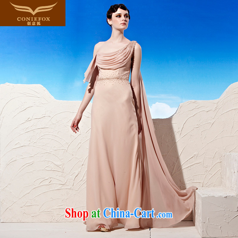Creative Fox Evening Dress star dresses, stylish and elegant dress long skirt long beauty, a shoulder dress wood drill evening dress toast serving 58,026 picture color XXL