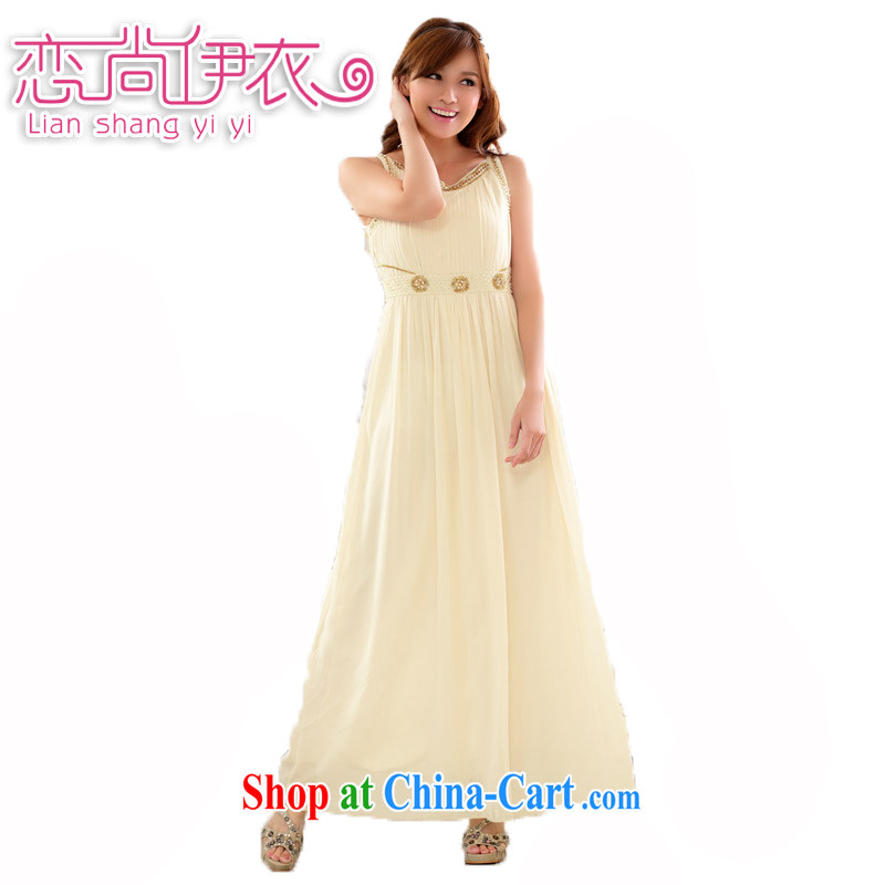 Land is still the Yi 2014 New Name-yuan temperament a purely manual staple Pearl dress dress dinner dress appointment snow woven large, female long evening dress straps dress champagne color XXXL