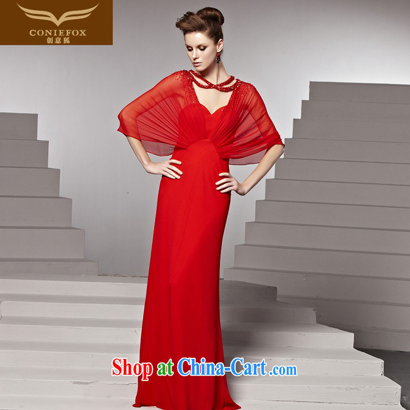 Creative Fox Evening Dress red bridal wedding dress banquet toast dress long alignment to dress sweet Mary Magdalene chest dress long skirt 81,580 picture color XL