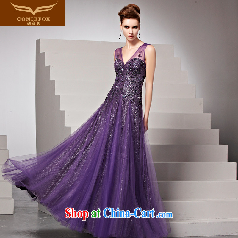 Creative Fox dress New back exposed purple dress evening dress and evening dress deep V sexy dress theatrical service presided over 81,599 dresses picture color XL