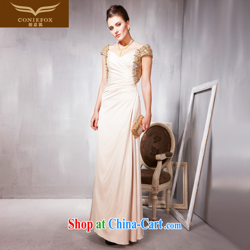 Creative Fox Evening Dress elegant bridal gown banquet dress long serving toast stage evening hosted annual dress long skirt 56,856 light yellow S
