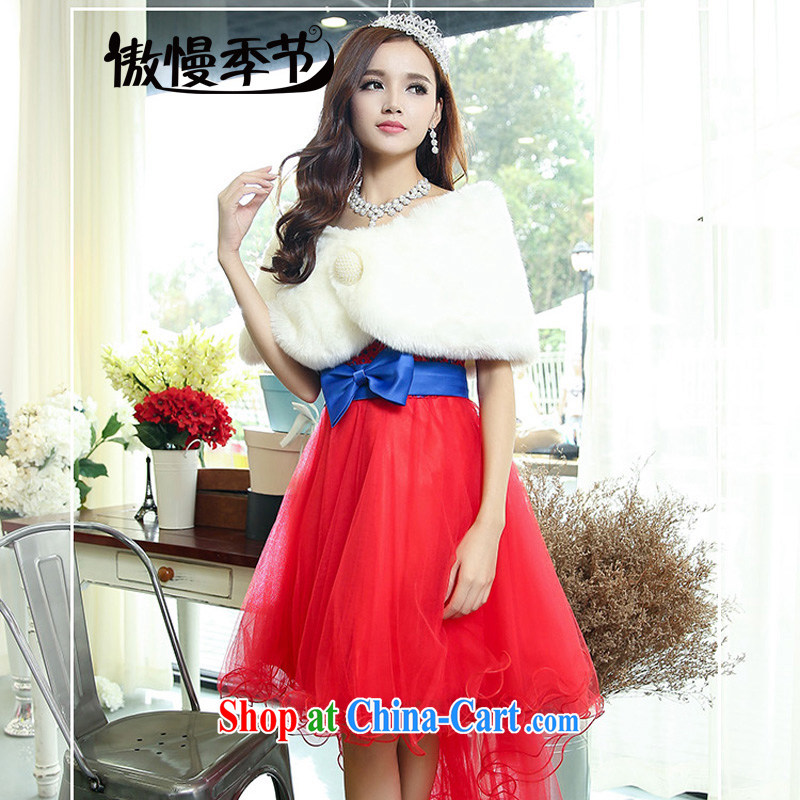 Arrogant season autumn 2015 Korean married women with dresses back door bows dress dress wedding bridesmaid dress female red with blue shawl S