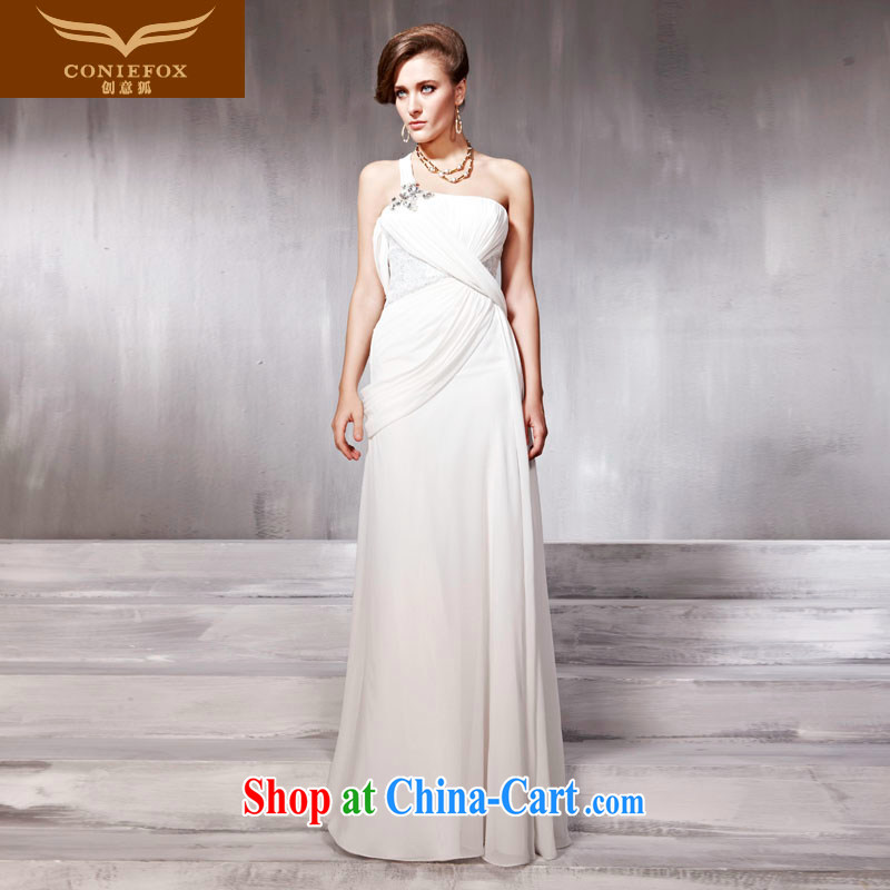 Creative Fox Tuxedo White single shoulder wedding dresses banquet evening show hosted service dress bridal wedding dress uniform toast welcoming service 56,862 white XXL