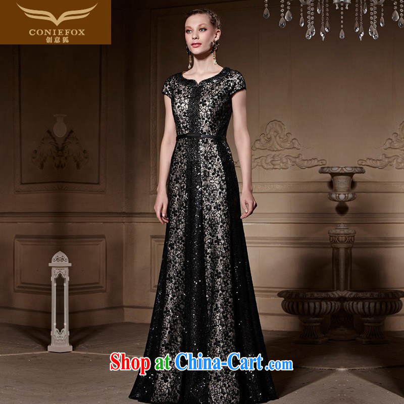 Creative Fox high-end custom Evening Dress 2015 new elegant beaded evening dress retro black dress banquet toast serving 30,556 black tailored