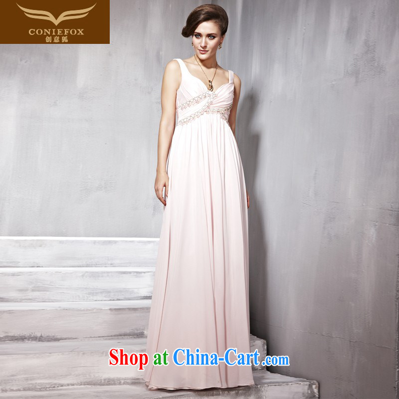 Creative Fox Evening Dress pink double-shoulder dress dress long cultivating bridesmaid dress dresses banquet evening dress uniform toast presided over 56,836 dresses pink XXL