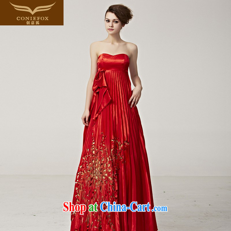 Creative Fox Evening Dress new stylish small jacket red dress Mary Magdalene chest dress dress bridal wedding gown toasting banquet long dress 56,252 picture color XXL