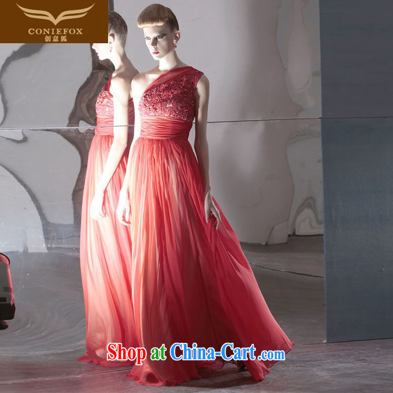 Creative Fox Evening Dress red bridal wedding dress softness and elegant large skirt evening dress with shoulder long dress theatrical dress 80,950 red XXL