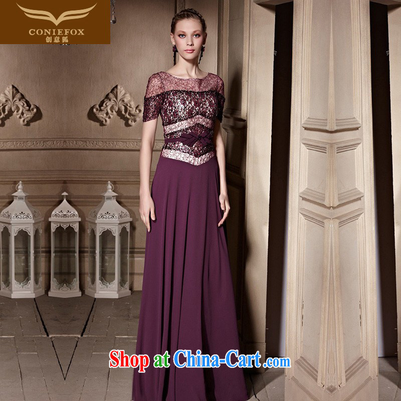Creative Fox high-end custom dress new stylish beauty banquet dress evening dress uniform toast purple long annual meeting, presided over 30,635 dresses picture color XXL