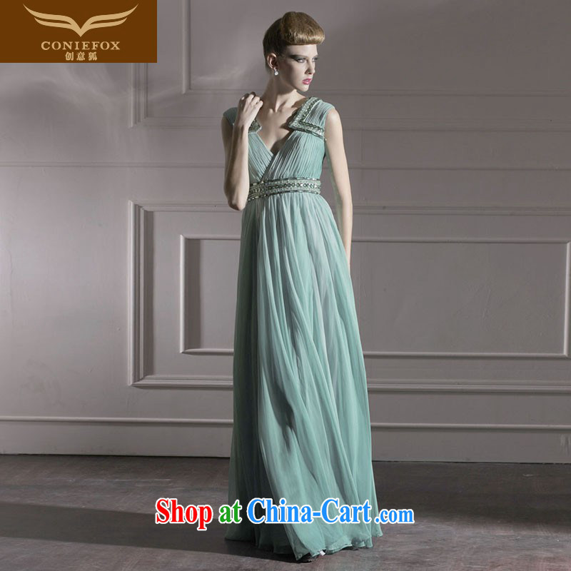 Creative Fox Evening Dress sexy shoulders V for banquet exclusive evening dress theatrical dress stylish and elegant serving toast moderator dress 80,953 army green XXL