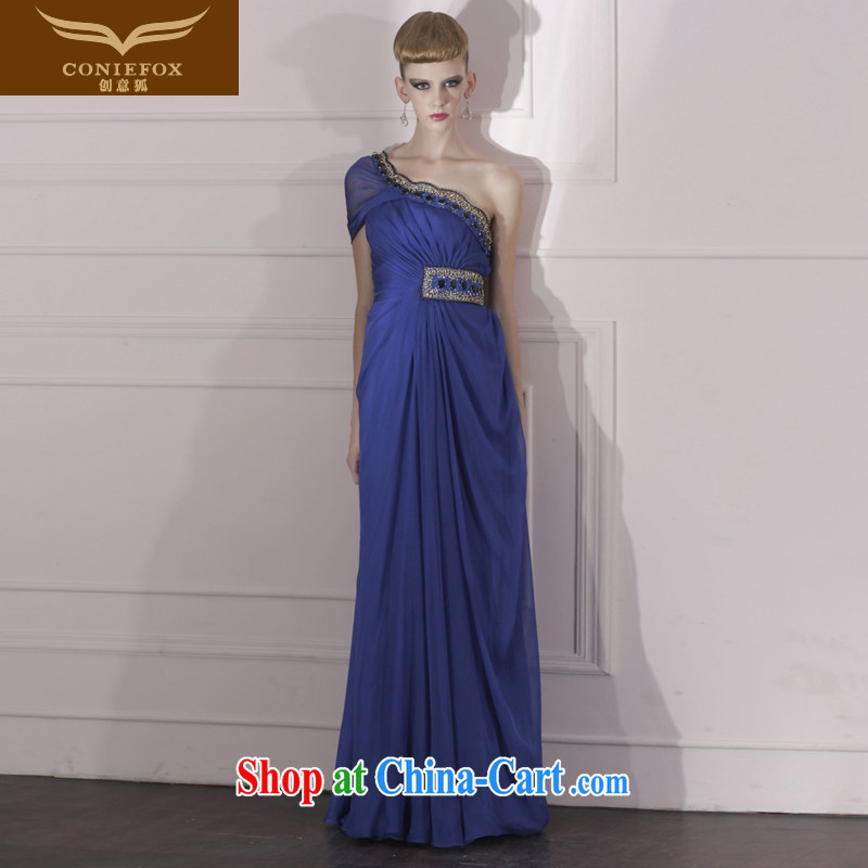 Creative Fox Evening Dress blue-waist dress dress toast the annual dress elegant style evening dress long dress 80,966 dark blue S