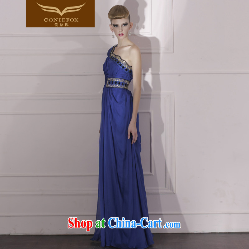 Creative Fox Evening Dress blue-waist dress dress toast the annual dress and elegant style evening dress long dress 80,966 dark blue S, creative Fox (coniefox), online shopping