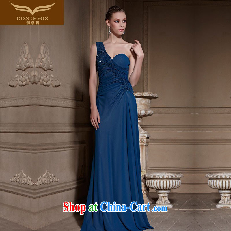 Creative Fox high-end custom dress single shoulder sexy beaded Evening Dress Red Carpet dress banquet evening dress suit the annual dress skirt 81,603 picture color tailored