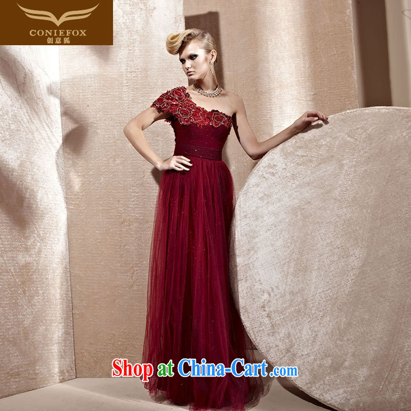 Creative Fox Tuxedo wine red single shoulder wedding dress banquet dress uniform toast long beauty dance performances dress 80,956 deep red XXL