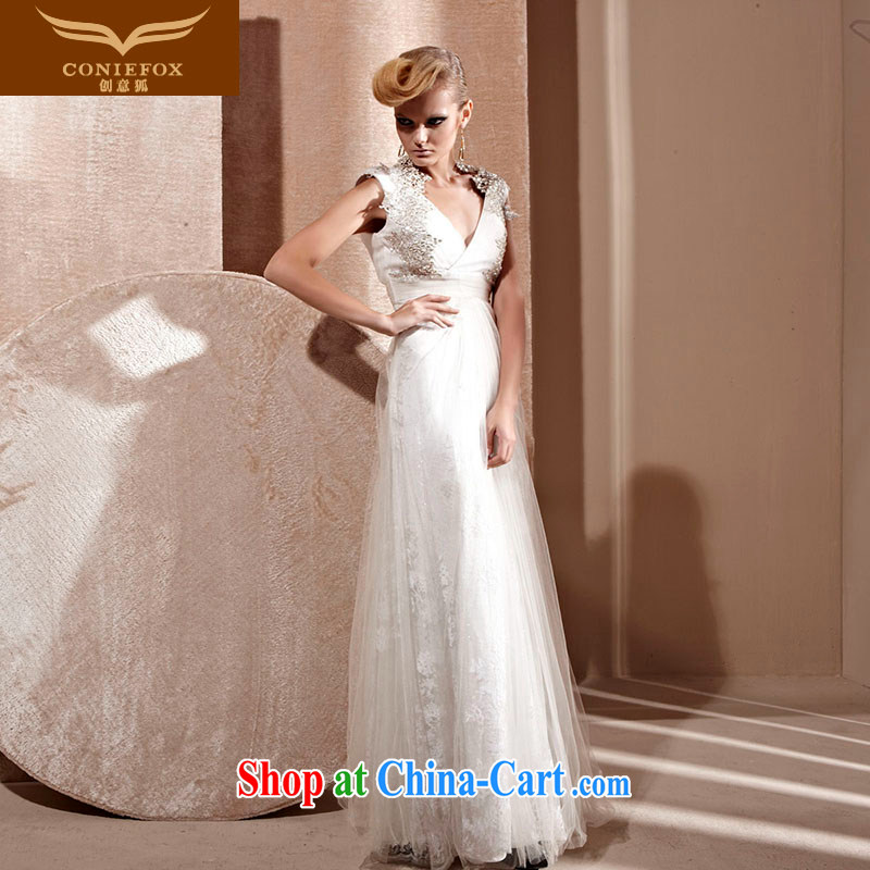 Creative Fox Evening Dress white wedding dresses deep V-neck bridal wedding dress banquet toast serving upscale luxurious evening dress presided over 80,991 dresses white XXL