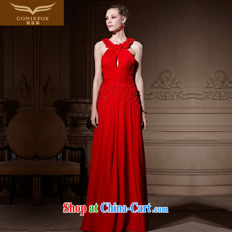 Creative Fox advanced custom Evening Dress New Romantic parquet Evening Dress beauty long red bridal wedding dress evening dress toast serving 81,622 picture color tailored