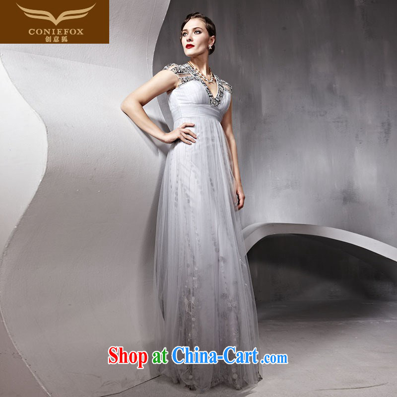 Creative Fox dress V collar package shoulder high waist, wedding dresses banquet toast Service Bridal wedding dress video slim dresses, 80,952 white XXL