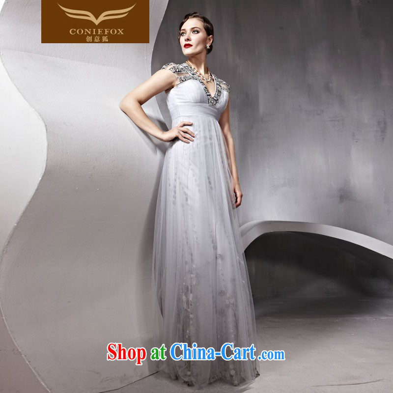 Creative Fox dress V collar package shoulder high waist, wedding dresses banquet toast Service Bridal wedding dress video slim dresses, 80,952 white XXL, creative Fox (coniefox), online shopping