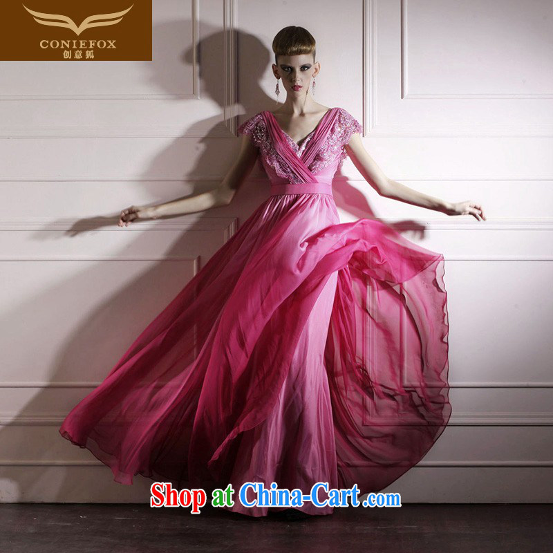 Creative Fox dress red Deep v dress simple softness large dress elegant long theatrical dress dresses 80,969 rose red XXL