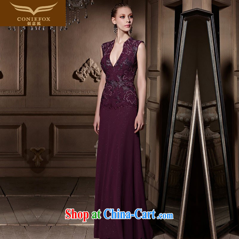 Creative Fox high-end custom dress new sexy deep V embroidered evening dress purple banquet evening dress toast service annual meeting presided over 81,656 dresses picture color tailored