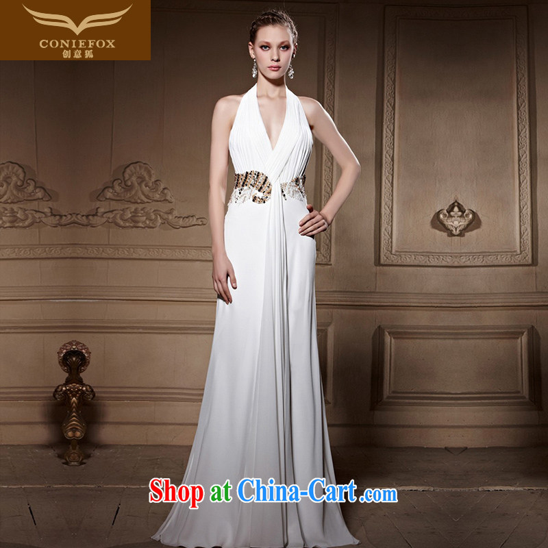 Creative Fox high-end custom dress elegant long sexy White wall also dress wedding dress annual woman dress dress 81,668 picture color XXL