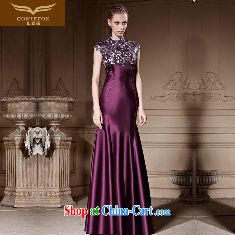 Creative Fox high-end custom dress dream courage empty dress banquet toast serving the annual dress purple long at Merlion dress 81,816 picture color tailored