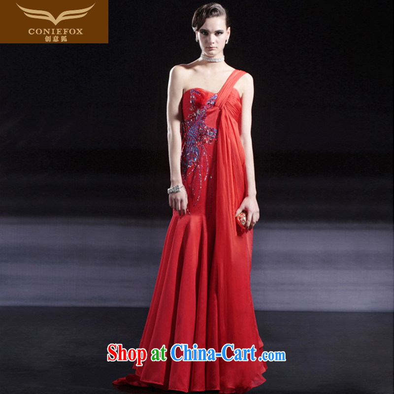 Creative Fox dress red bridal wedding dress banquet toast serving upscale dress single shoulder-length, the annual dress dresses 56,301 red XL