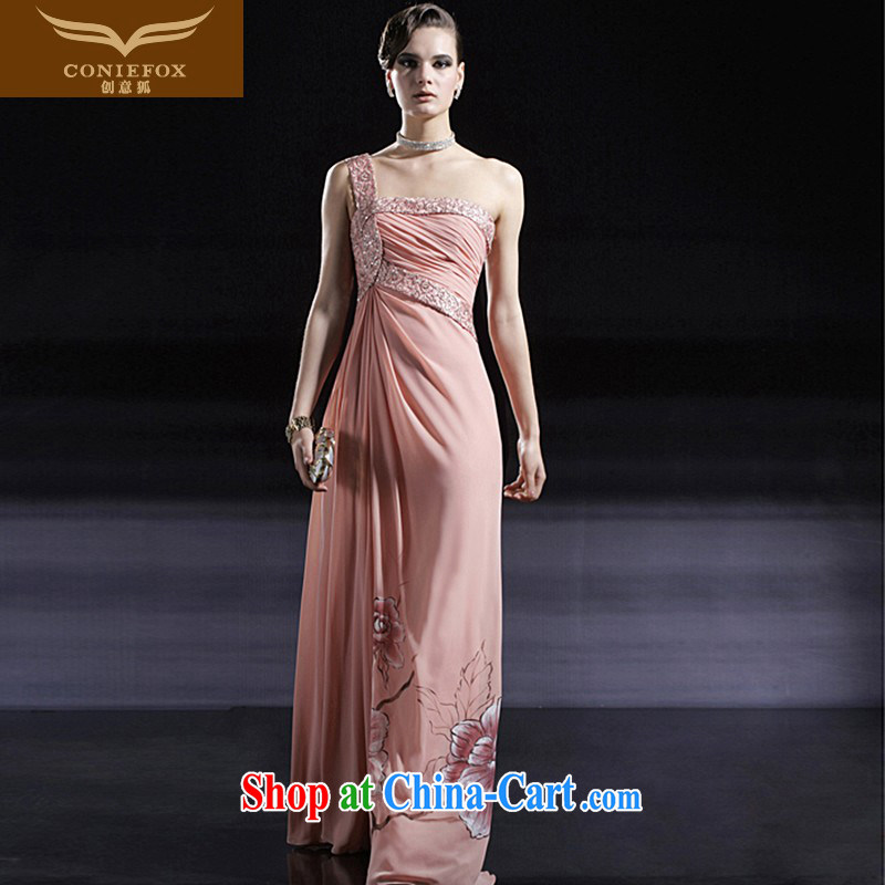 Creative Fox dress pink bridal wedding dress toast serving long single shoulder bridesmaid dress Banquet hosted dress dresses 56,680 pink XXL