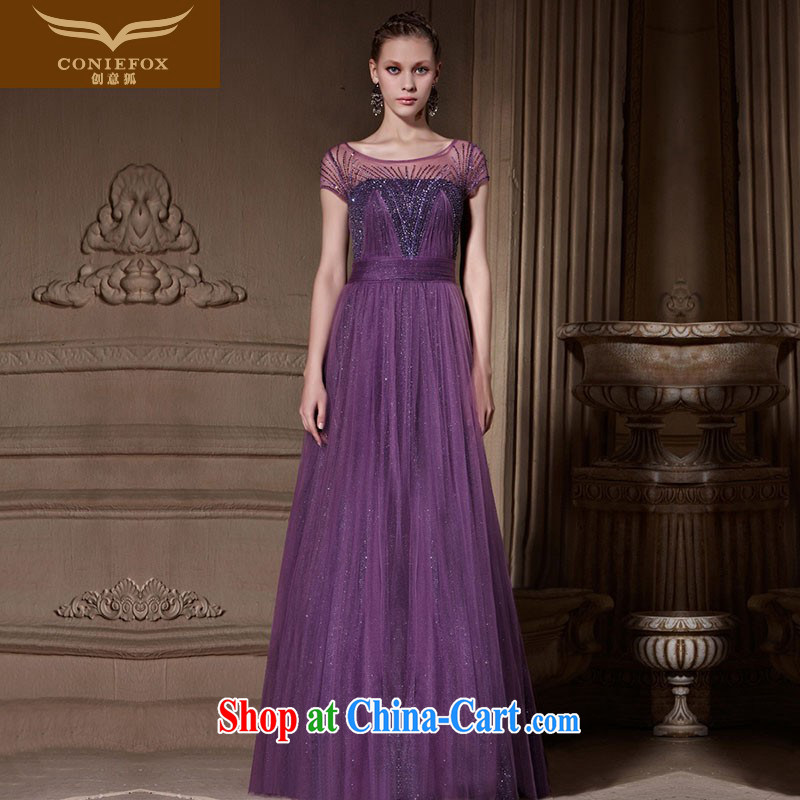 Creative Fox custom dress new purple dream beaded evening dress video slim, dress banquet hosted performances dress dress 81,906 picture color tailored