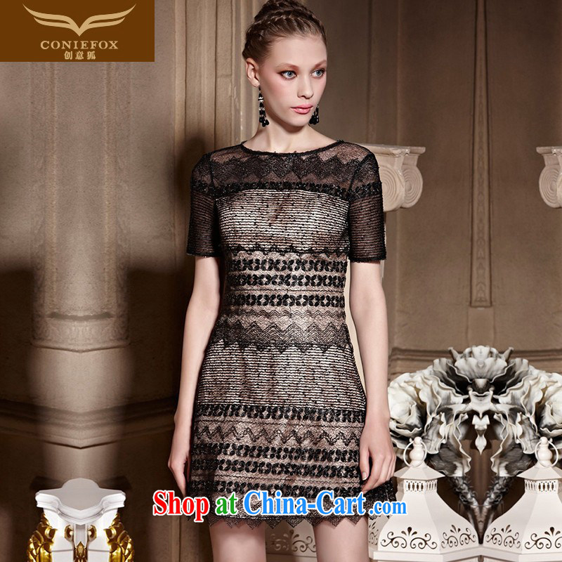 Creative Fox high-end custom Evening Dress 2015 new lace short dress banquet toast serving small black dress dresses 82,021 picture color tailored