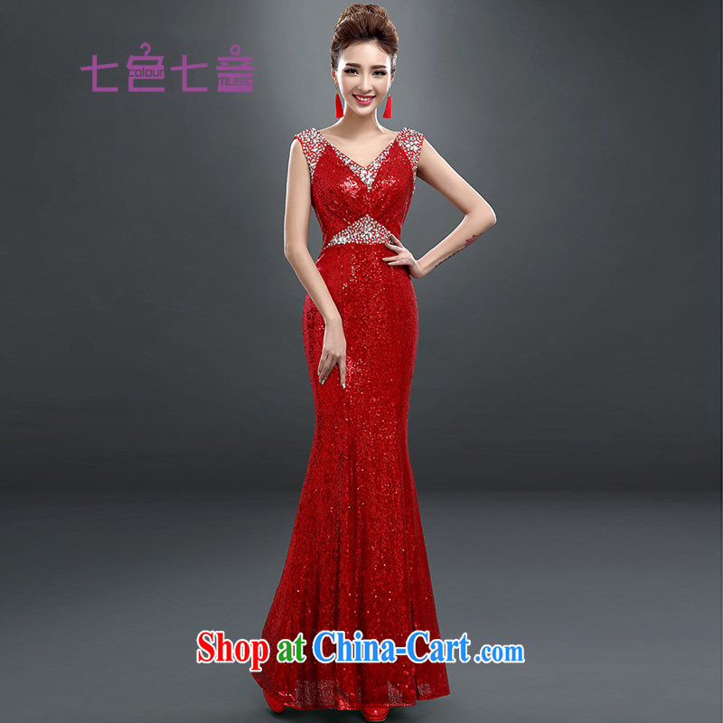 7-Color 7 tone Korean version of the new long, cultivating graphics thin light-dress bridal toast clothing sexy crowsfoot chaired annual long evening dress L 021 large red M
