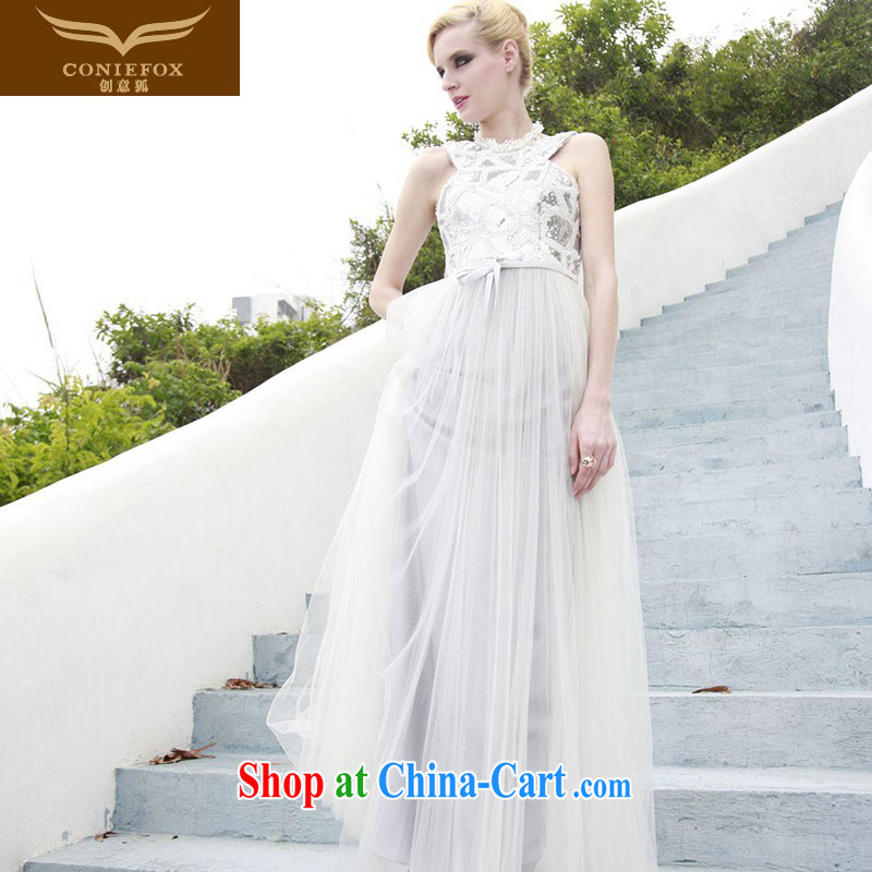 Creative Fox Evening Dress white, bridal dresses name Yuan dress banquet toast clothing elegant long graphics thin evening dress dress dress white 80,858 XL